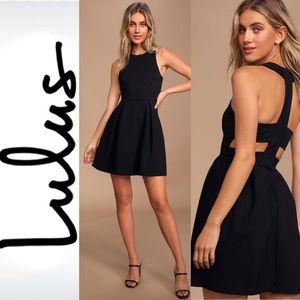 LULU's Black Cut out Skater Dress